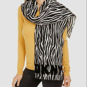 DKNY Women's Knit Scarf Logo Zebra Animal Print